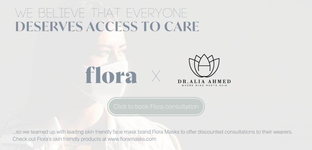 Flora Masks and Dr. Alia banner